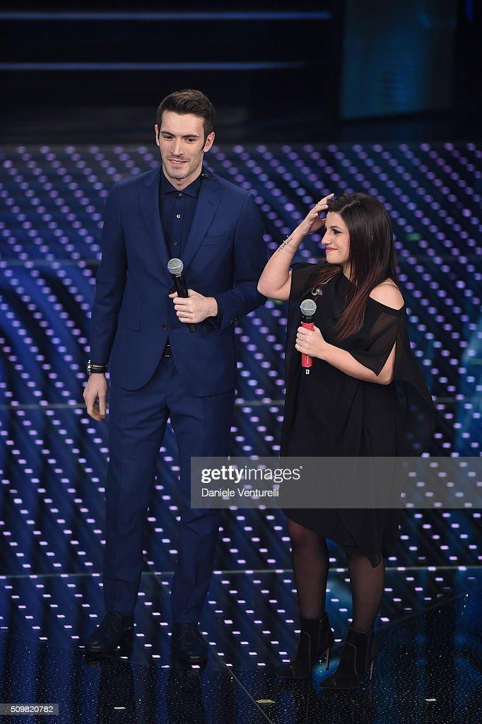 Giovanni Caccamo and Deborah Lurato attend the fourth night of the 66th Festival di Sanremo 2016 at Teatro Ariston on February 12, 2016 in Sanremo, Italy.