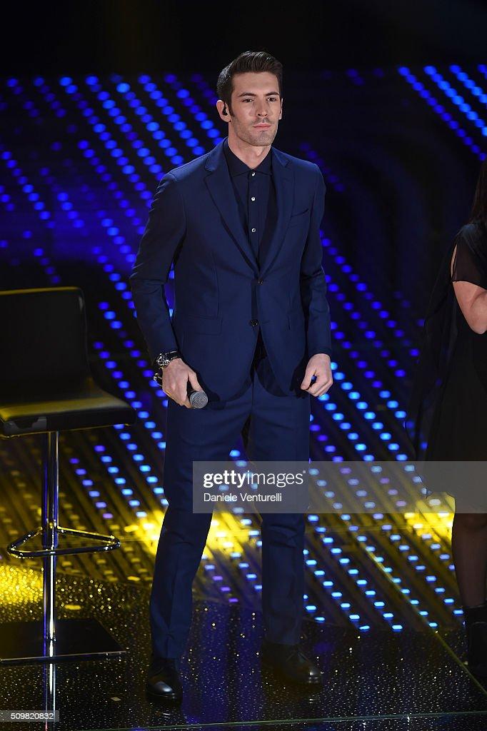 Giovanni Caccamo attends the fourth night of the 66th Festival di Sanremo 2016 at Teatro Ariston on February 12, 2016 in Sanremo, Italy.