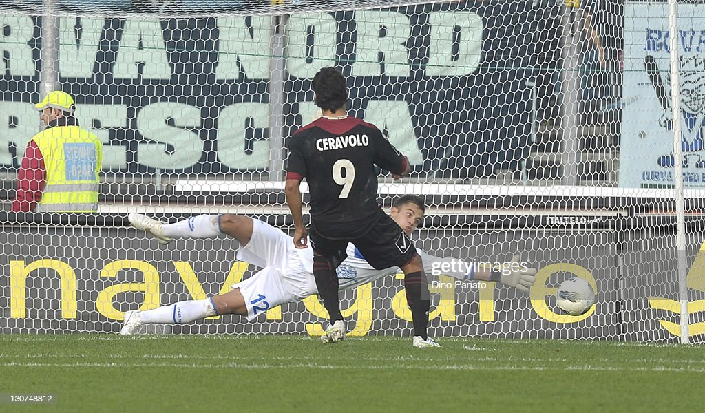 Giovanni Ceravolo of Reggina scores his opening penalty goal during the Serie B match between Brescia Calcio and Reggina Calcio at Mario Rigamonti...