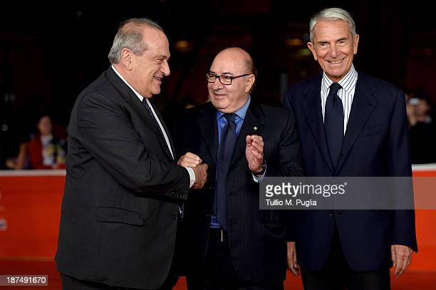 Giovanni Cotton Dante Ferretti and Carlo Rossella attends 'Federico Degli Spiriti' Premiere during The 8th Rome Film Festival at Auditorium Parco...