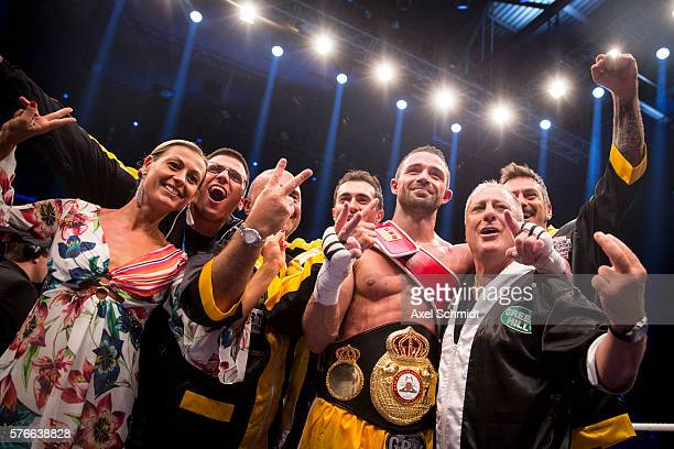 Giovanni De Carolis celebrates his victory over Tyron Zeuge at the WBA Super Middleweight World Championship fight at Max Schmeling Halle on July 16...
