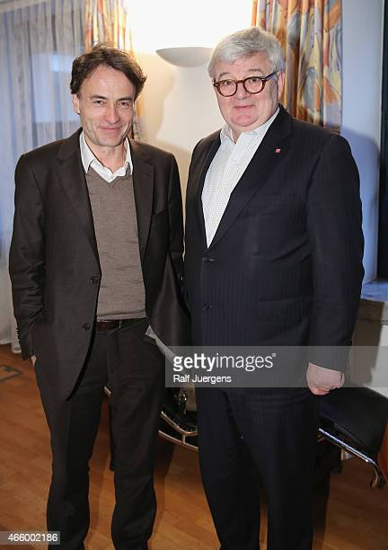 Giovanni di Lorenzo and Joschka Fischer speak about Europe during the lit Cologne at `WDR Funkhaus`on March 12 2015 in Cologne Germany