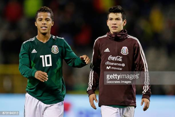 Giovanni Dos Santos of Mexico Hirving Lozano of Mexico during the International Friendly match between Belgium v Mexico at the Koning...