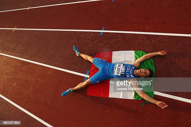 Giovanni Galbieri of Italy celebrates winning the 100m on day two of the European Athletics U23 Championships at Kadriorg Stadium on July 9 2015 in...