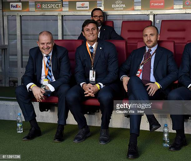 Giovanni Gardini Javier Zanetti and Piero Ausilio attend prior to the UEFA Europa League match between AC Sparta Praha and FC Internazionale Milano...