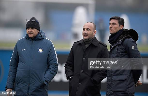 Giovanni Gardini Piero Ausilio and Javier Zanetti attend the FC Internazionale training session at the club's training ground at Appiano Gentile on...