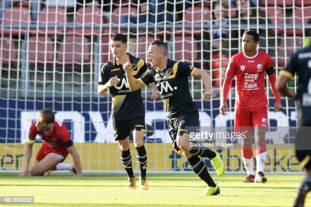 Giovanni Korte of NAC Breda celebrates 12 with Manu Garcia Alonso of NAC Breda during the Dutch Eredivisie match between FC Utrecht v NAC Breda at...