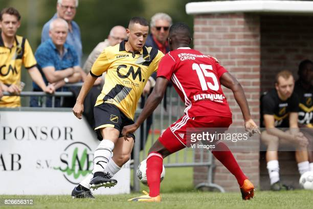Giovanni Korte of NAC Breda Delvechio Blackson of Almere City during the friendly match between NAC Breda and Almere City FC at Sportpark...
