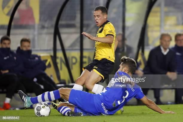Giovanni Korte of NAC Breda Nicolas Freire of PEC Zwolle during the Dutch Eredivisie match between NAC Breda and PEC Zwolle at the Rat Verlegh...