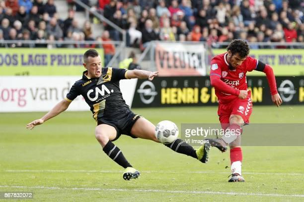 Giovanni Korte of NAC Breda Zakaria Labyad of FC Utrecht during the Dutch Eredivisie match between FC Utrecht and NAC Breda at the Galgenwaard...