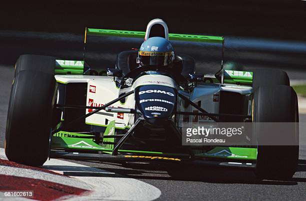 Giovanni Lavaggi of Italy drives the Minardi Team SpA Minardi M195B Ford during practice for the Italian Grand Prix on 7 September 1996 at the...