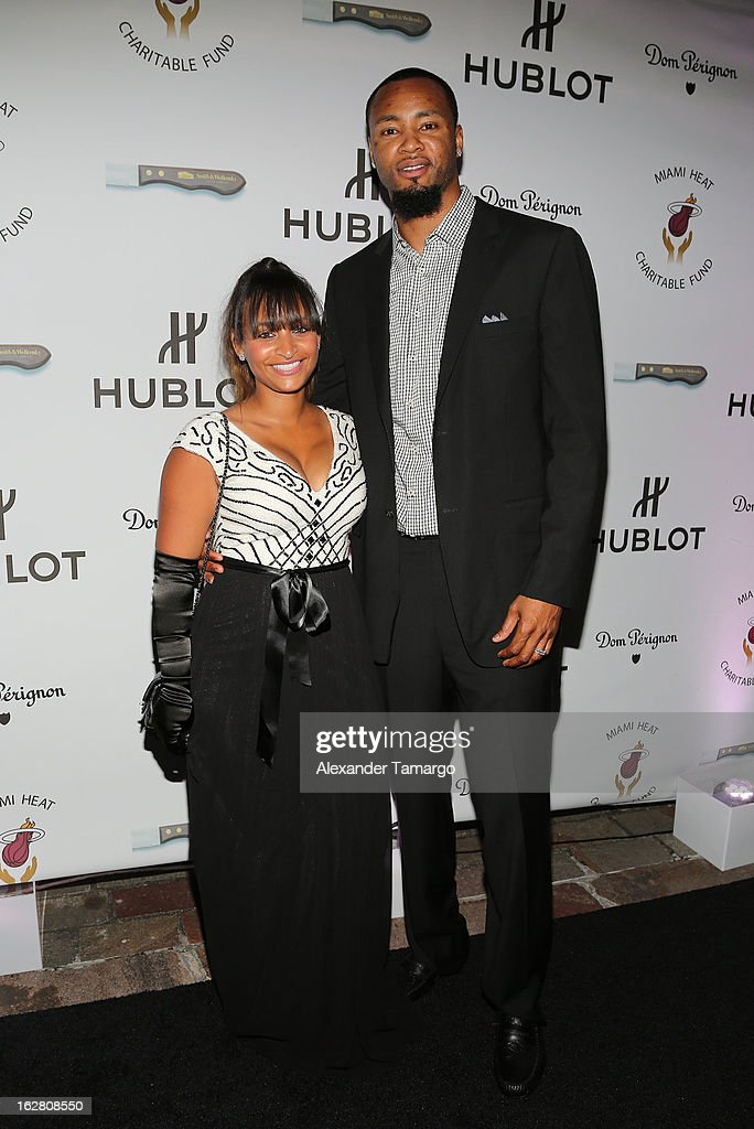 Giovanni Lewis and <a gi-track='captionPersonalityLinkClicked' href=/galleries/search?phrase=Rashard+Lewis&family=editorial&specificpeople=201713 ng-click='$event.stopPropagation()'>Rashard Lewis</a> attend the Miami HEAT Family Foundation night of 'Motown Revue' on February 27, 2013 in Miami, Florida.
