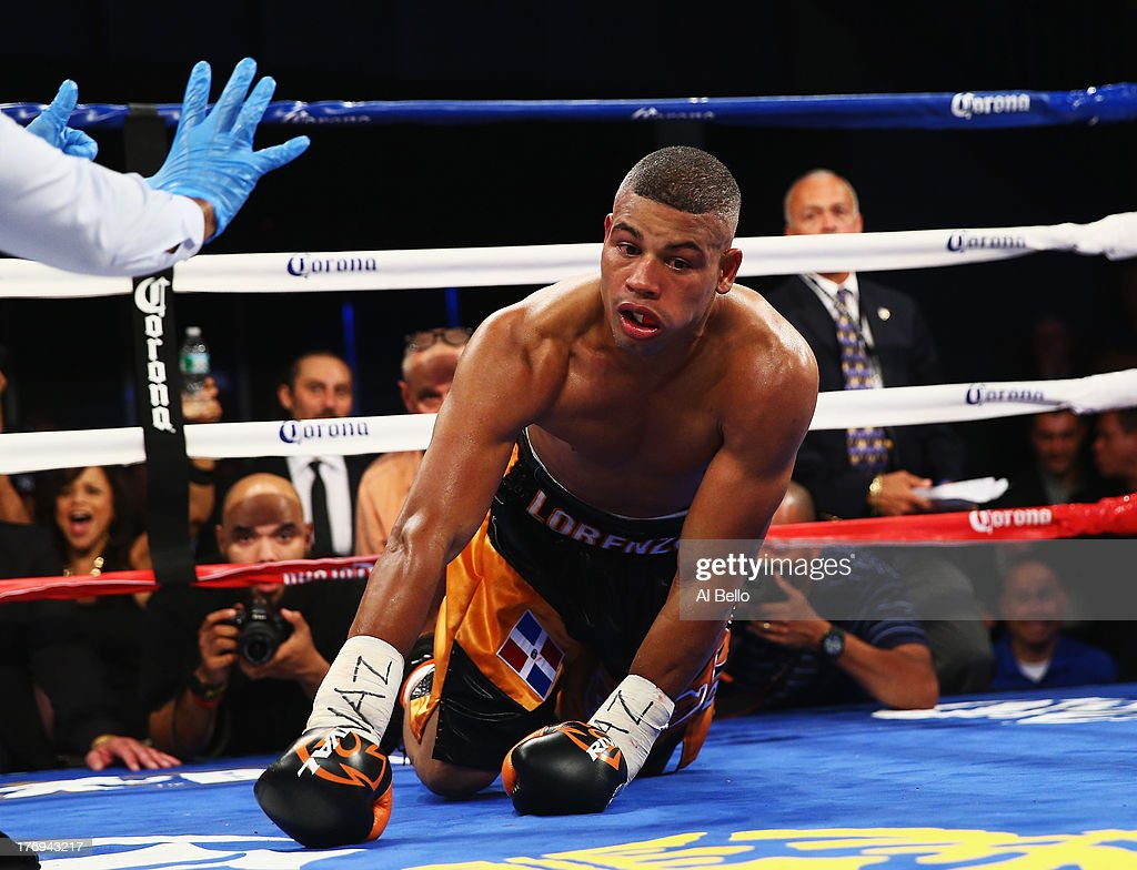 Giovanni Lorenzo is knocked out in the third round against Danny Jacobs during their Junior Middleweight fight at Best Buy Theater on August 19, 2013 in New York City.
