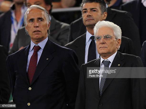 Giovanni Malago' President of CONI and Sergio Mattarella President of Italy look on during the TIM Cup final match between SS Lazio and Juventus FC...