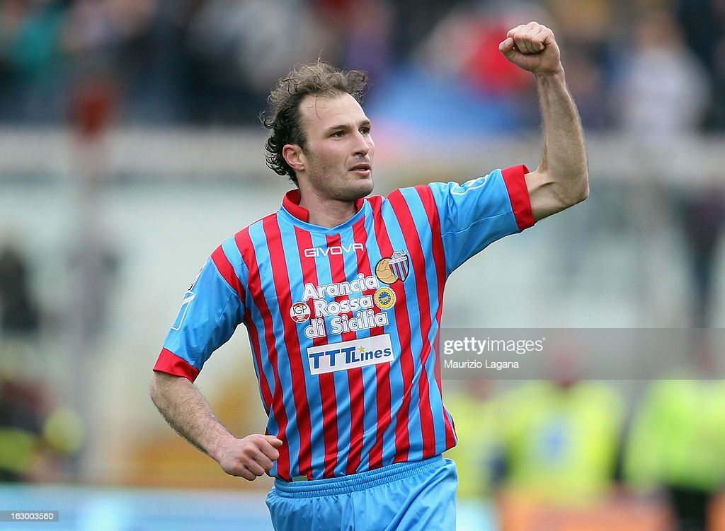 Giovanni Marchese of Calcio Catania celebrates after scoring his their second goal during the Serie A match between Calcio Catania and FC Internazionale Milano at Stadio Angelo Massimino on March 3, 2013 in Catania, Italy.