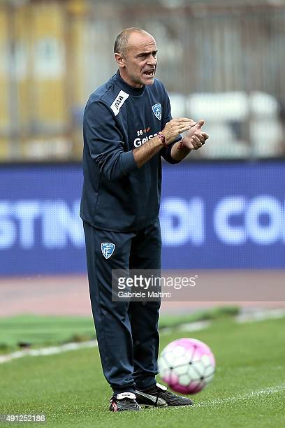 Giovanni Martusciello manager of Empoli FC gestures during the Serie A match between Empoli FC and US Sassuolo Calcio at Stadio Carlo Castellani on...