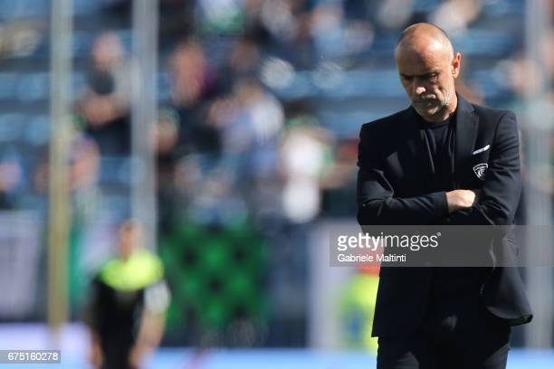 Giovanni Martusciello manager of Empoli FC reacts during the Serie A match between Empoli FC and US Sassuolo at Stadio Carlo Castellani on April 30...