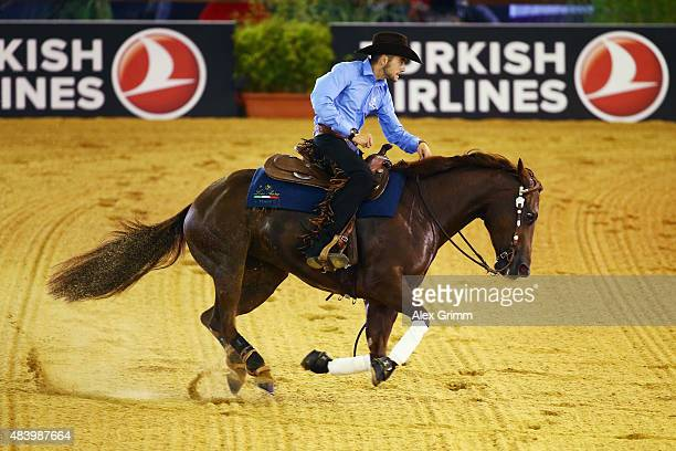 Giovanni Masi de Vargas of Italy rides on his horse Dance Little Spook during the Reining team competition on Day 3 of the FEI European Equestrian...