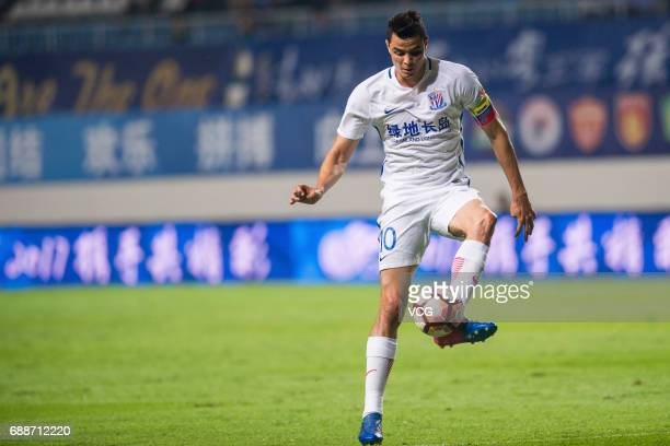 Giovanni Moreno of Shanghai Shenhua drives the ball during the 11th round match of China Super League between Guangzhou RF and Shanghai Shenhua at...