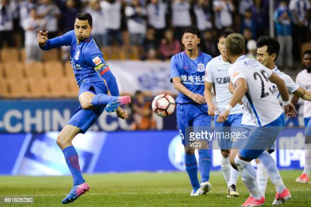 Giovanni Moreno of Shanghai Shenhua handles the ball during 2017 Chinese Super League 12th round match between Tianjin Teda and Shanghai Shenhua at...