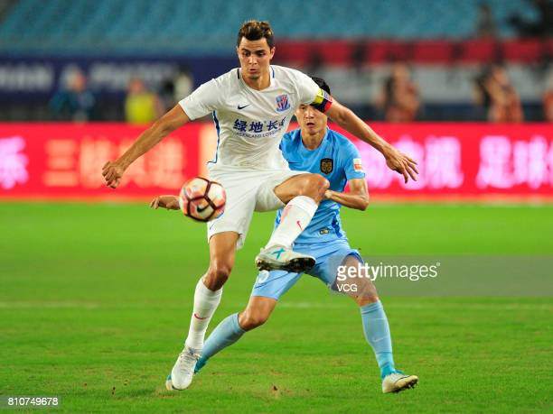 Giovanni Moreno of Shanghai Shenhua stops the ball during the 16th round match of 2017 Chinese Football Association Super League between Jiangsu...