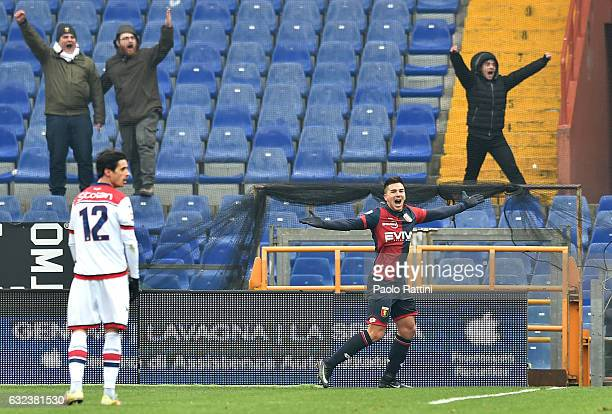 Giovanni Pablo Simeone of Genoa celebrates his goal during the Serie A match between Genoa CFC and FC Crotone at Stadio Luigi Ferraris on January 22...