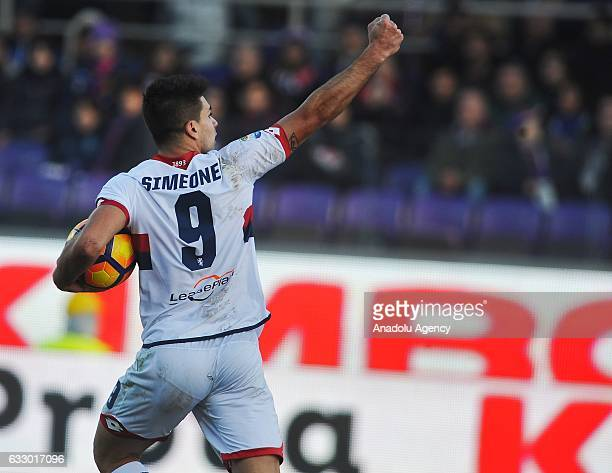 Giovanni Pablo Simeone of Genoa Fc celebrates after scoring a goal during Italian Serie A soccer match between ACF Fiorentina and Genoa FC at Stadio...