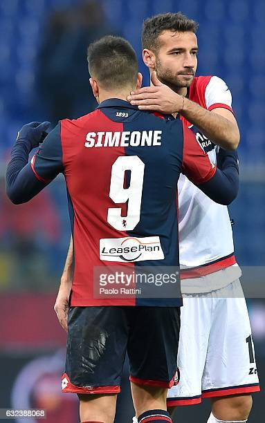 Giovanni Pablo Simeone of Genoa greets Gian Marco Ferrari of Crotone after the Serie A match between Genoa CFC and FC Crotone at Stadio Luigi...