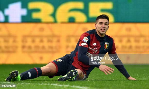 Giovanni Pablo Simeone of Genoa lies on the pitch during the Serie A match between Genoa CFC and US Sassuolo at Stadio Luigi Ferraris on February 5...