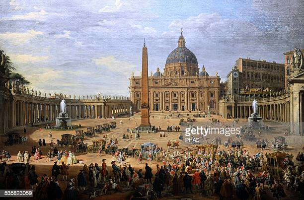 Giovanni Paolo Panini Italian painter The output of the Duke of Choiseul of St Peter's Square in Rome 1754 Gemaldegalerie Berlin Germany