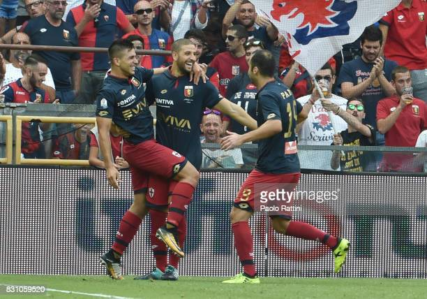 Giovanni Simeone celebrate after gol 11 during the TIM Cup match between Genoa CFC and AC Cesena at Stadio Luigi Ferraris on August 13 2017 in Genoa...