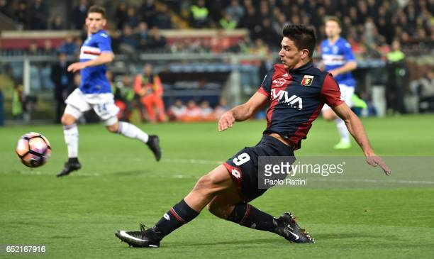 Giovanni Simeone in action during the Serie A match between Genoa CFC and UC Sampdoria at Stadio Luigi Ferraris on March 11 2017 in Genoa Italy