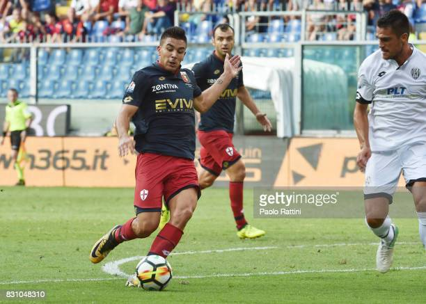 Giovanni Simeone in action during the TIM Cup match between Genoa CFC and AC Cesena at Stadio Luigi Ferraris on August 13 2017 in Genoa Italy