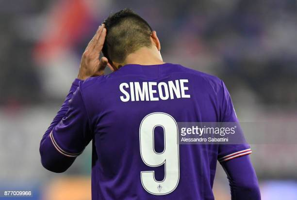 Giovanni Simeone of ACF Fiorentina reacts during the Serie A match between Spal and ACF Fiorentina at Stadio Paolo Mazza on November 19 2017 in...