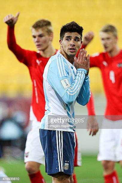 Giovanni Simeone of Argentina reacts after a missed opportunity during the FIFA U20 World Cup New Zealand 2015 Group B match between Austria and...