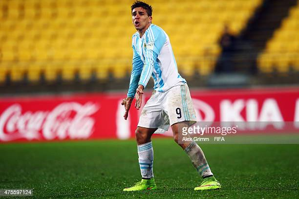 Giovanni Simeone of Argentina reacts during the FIFA U20 World Cup New Zealand 2015 Group B match between Argentina and Ghana at Wellington Regional...