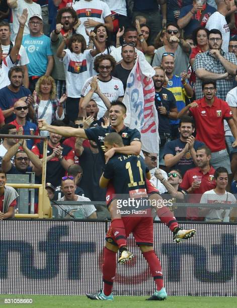 Giovanni Simeone of Genoa celebrates after goal 11 during the TIM Cup match between Genoa CFC and AC Cesena at Stadio Luigi Ferraris on August 13...