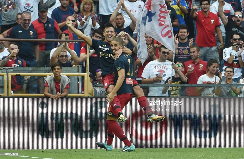 Giovanni Simeone of Genoa celebrates after goal 1-1 during the TIM Cup match between Genoa CFC and AC Cesena at Stadio Luigi Ferraris on August 13, 2017 in Genoa, Italy.
