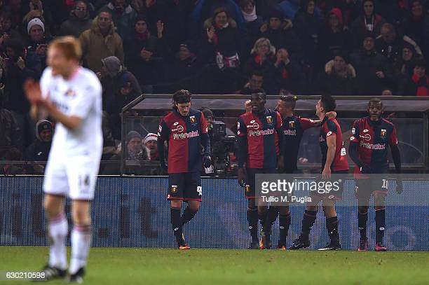 Giovanni Simeone of Genoa celebrates after scoring his second goal during the Serie A match between Genoa CFC and US Citta di Palermo at Stadio Luigi...