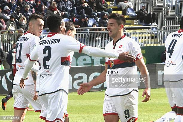 Giovanni Simeone of Genoa celebrates his goal of 01 with teammates during the Serie A match between Cagliari Calcio and Genoa CFC at Stadio Sant'Elia...