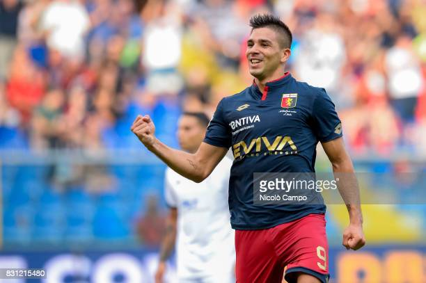 Giovanni Simeone of Genoa CFC celebrates after scoring a goal during the TIM Cup football match between Genoa CFC and AC Cesena Genoa CFC wins 21...