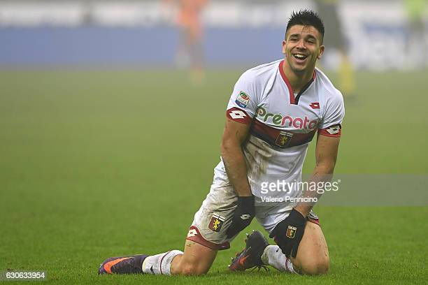 Giovanni Simeone of Genoa CFC reacts during the Serie A match between FC Internazionale and Genoa CFC at Stadio Giuseppe Meazza on December 11 2016...