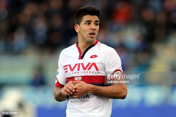 Giovanni Simeone of Genoa CFC reacts during the Serie A match between Empoli FC and Genoa CFC at Stadio Carlo Castellani on March 5 2017 in Empoli...