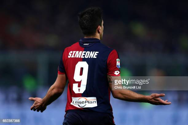Giovanni Simeone of Genoa CFC reacts during the Serie A match between Genoa CFC and UC Sampdoria at Stadio Luigi Ferraris on March 11 2017 in Genoa...