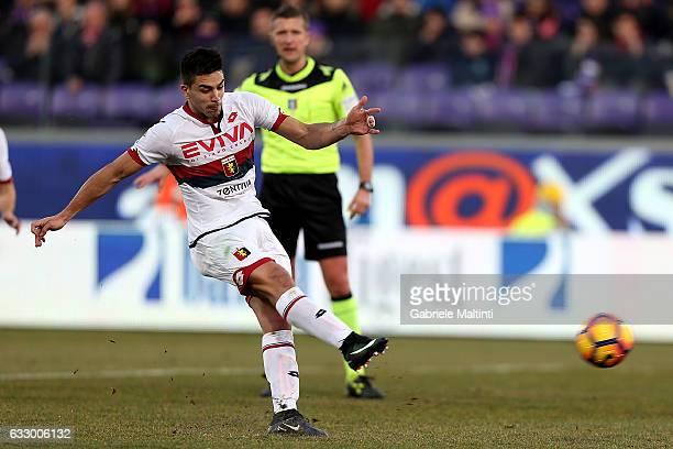 Giovanni Simeone of Genoa CFC scores a goal during the Serie A match between ACF Fiorentina and Genoa CFC at Stadio Artemio Franchi on January 29...