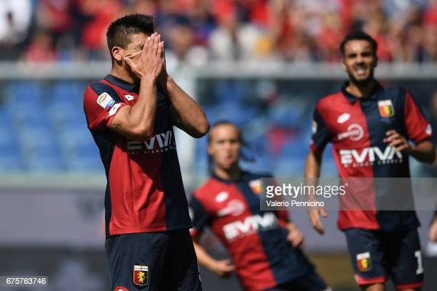 Giovanni Simeone of Genoa CFC shows his dejection during the Serie A match between Genoa CFC and AC ChievoVerona at Stadio Luigi Ferraris on April 30...