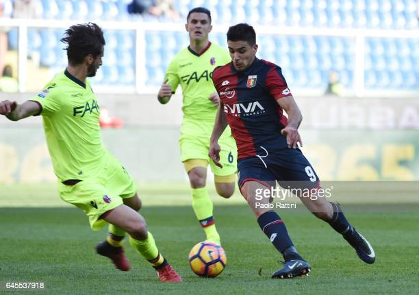 Giovanni Simeone of Genoa in action during the Serie A match between Genoa CFC and Bologna FC at Stadio Luigi Ferraris on February 26 2017 in Genoa...
