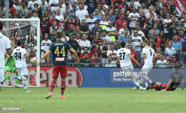 Giovanni Simeone of Genoa scores a goal to make it 11 during the TIM Cup match between Genoa CFC and AC Cesena at Stadio Luigi Ferraris on August 13...