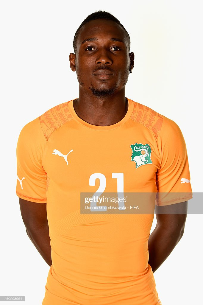 <a gi-track='captionPersonalityLinkClicked' href=/galleries/search?phrase=Giovanni+Sio&family=editorial&specificpeople=7023343 ng-click='$event.stopPropagation()'>Giovanni Sio</a> of Cote d'Ivore during the Official FIFA World Cup 2014 portrait session on June 6, 2014 in Monte Siao, Brazil.