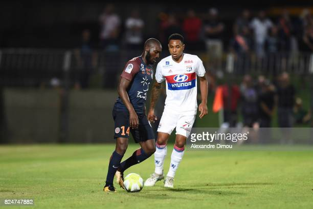 Giovanni Sio of Montpellier and Kenny Tete of Lyon during the Friendly match between Montpellier Herault and Olympique Lyonnais on July 30 2017 in...